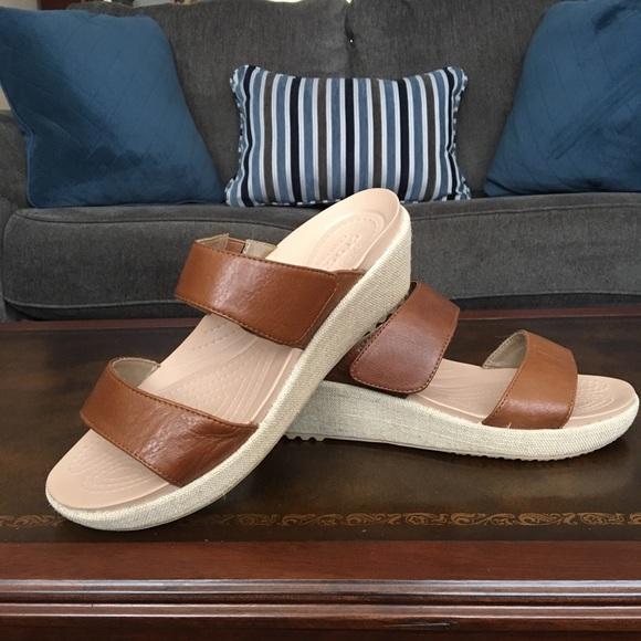 448eb2db56db CROCS Dual Comfort Slide-On Wedge Sandals
